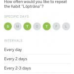 HabitList intervaller